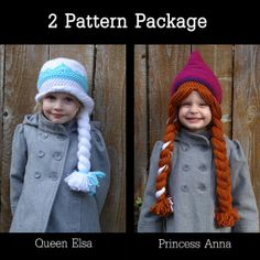 Elsa & Anna (Frozen) Crocheted Hat Pattern - 2 Patterns - Instant Download - HILARIOUS