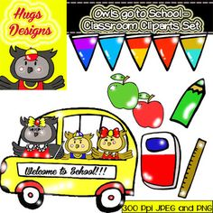 OWLS GO TO SCHOOL - CLASSROOM CLIPART SET FOR PERSONAL AND COMMERCIAL USE - TeachersPayTeachers.com