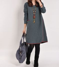 Blue gray cotton dress linen dress long sleeve by Beautygirl02, $54.00