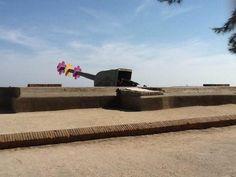 Unas enormes margaritas decoran los cañones del castillo de Montjuïc