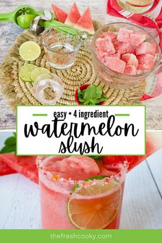 3 reviews · 18 hours · Serves 2 · Juicy, ripe red watermelon, frozen and blended into this refreshing, delicious and healthy watermelon slush! With just 3 main ingredients, this all natural, no sugar slushie recipe is the essential… Watermelon Slush Recipe, Watermelon Vodka Drinks, Slushie Recipe, Frozen Watermelon, Dessert Drinks, Fun Drinks, Yummy Drinks, Beverages
