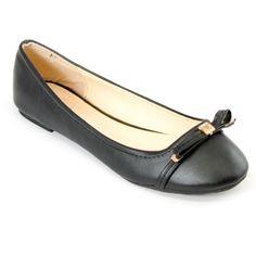 Black Bow-Embellished Ballet FlatsBlack Bow-Embellished Ballet Flats   Danice Stores