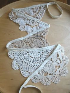 Lace Bunting Denise is making lace bunting for the shoot.