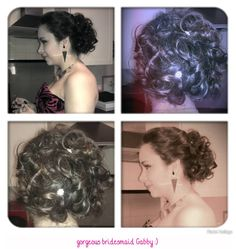 Back and side profile, lovely bridesmaid hairup, very long thick hair by Sandra Jones  #hairup #bridal #bridesmaid #bride #prom #tousled #curly