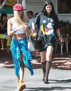Experimenting with fashion: Kylie Jenner and her friend Pia Mia Perez, pictured on Saturday, has been sporting a grungy style lately