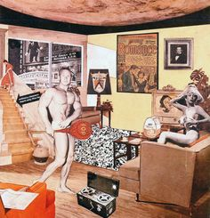 Pop art collage called 'Just what is it that makes today's homes so different, so appealing? 1956 by Richard Hamilton is one of the earliest pieces labeled Pop Art. Hamilton died in Jasper Johns, Collage Foto, Art Du Collage, Collage Collage, Digital Collage, Robert Rauschenberg, Cultura Pop, Andy Warhol, Photomontage