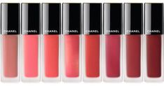Chanel Rouge Allure Ink 2016 Fall Collection | Chanel Rouge Allure Ink / Matte Liquid Lip – New & Permanent |  140 Amoureux – pink-beige 142 Creatif – fresh pink 144 Vivant – coral 146 Seduisant – bright pink 148 Libere – bright red 150 Luxuriant – red and pink 152 Choquant – dark red 154 Experimente – red plum