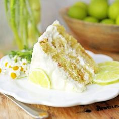 Key Lime Cake with Cream Cheese Frosting. Moist key lime cake with sweet cream cheese frosting. A light and fluffy citrus lime cake with the perfect lime frosting! Key Lime Desserts, Just Desserts, Delicious Desserts, Dessert Recipes, Key Lime Pound Cake, Key Lime Cake, Key Lime Kuchen, Lime Cake Recipe, Delish Cakes
