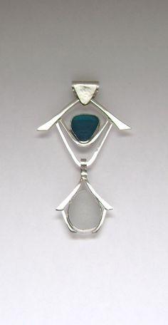 Sea Glass Jewelry - Sterling Rare Teal & White Sea Glass 3 in 1 Pendant. $150.00, via Etsy.