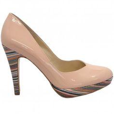 Peter Kaiser Lukrezia sand patent stilettos - modern multicoloured heel court shoes in nude patent