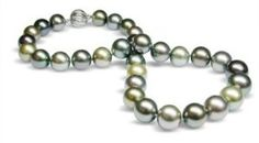 """13.1 x 15.4mm multicolor black Tahitian south sea cultured pearl necklace 19"""""""