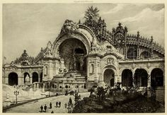 """archimaps: """" The Château d'Eau and the Palace of Electricity at the Exposition Universelle in Paris """" Architecture Mapping, Sacred Architecture, Classical Architecture, Historical Architecture, Beautiful Architecture, Architecture Details, Paris 1900, Old Paris, Monuments"""