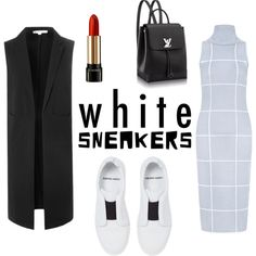 White Sneakers - How to wear by ninamulas on Polyvore. C/Meo Collective dress; Glamourous sleeveless blazer; Pierre Hrdy sneakers; Louis Vuitton bagpack