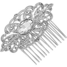 Jon Richard Silver Filigree Hair Comb ($20) ❤ liked on Polyvore featuring accessories, hair accessories, long hair combs, long comb, silver comb, hair comb and long hair accessories