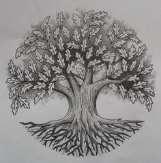 Oak Tree by ~Tattoo-Design on deviantART nice style, but a little too symmetrical.