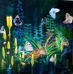 Artwork >> Sancelme Marie-Noelle >> Luxuriance  #artworks, #nature, #paining, #masterpiece, #butterflies
