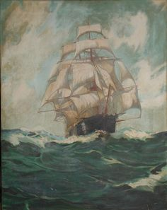 Vintage ship at sea oil painting full mast afew nicks but over all good shape 1900 to 1930 oil on canvas not signed 28 x 22 in thank you.