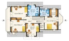 Rzut AN TURKUS CE 2nd Floor, Floor Plans, Flooring, Architecture, House, House 2, American Houses, Home Layouts, Arquitetura