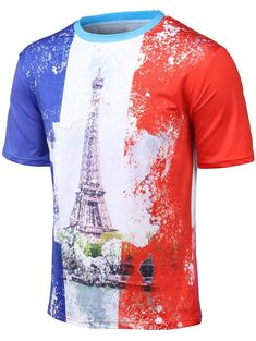 37782ad28f0 Plus Size 3D Watercolor Iron Tower Print Round Neck Short Sleeve T-Shirt -  COLORMIX