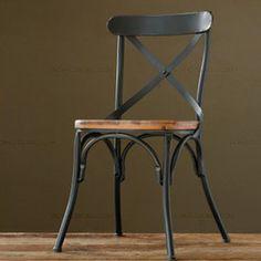 Superior, La aldea de muebles retro, Vintage de metal silla de comedor, tratamiento anti óxido, muebles de comedor de madera juegos, silla de metal negro