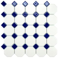 Somertile 11-5/8x11-5/8-inch Victorian Octagon Matte White with Cobalt Dot Porcelain Tile (Case of 10) - Overstock™ Shopping - Big Discounts on Somertile Wall Tiles