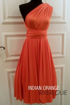 Crazy cool dress with different wrappable styles, this one in INDIAN ORANGE Convertible Multiway Bridesmaids by RiverLouie, $30.00