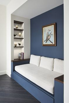 Reading nooks you'll want to spend the whole day in: A built in sofa invites a hidden place to rest, relax and read.