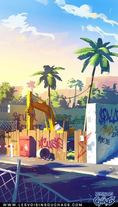 Street environment concept on Behance ★ Find more at… Cartoon Background, Animation Background, Art Background, Beauty Background, Art And Illustration, Illustrations, Environment Concept, Environment Design, Matte Painting