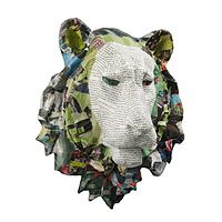 Recycled paper lion head.  Perfect for that unexpected element in my house.