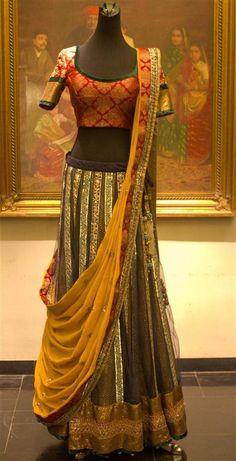 Shyamal & Bhumika  I like the dupatta style with longer choli of course lol.