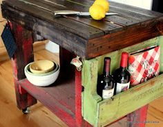 Pallet Kitchen Island - materials used to build this island is listed on this post - via Beyond the Picket Fence
