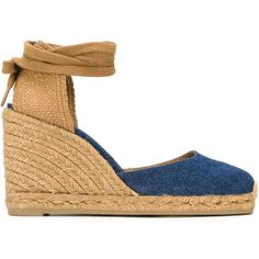 Castañer Carina Wedge Espadrilles ($97) ❤ liked on Polyvore featuring shoes, sandals, blue, leather espadrilles, castaner espadrilles, blue sandals, leather sandals and wedge heel sandals