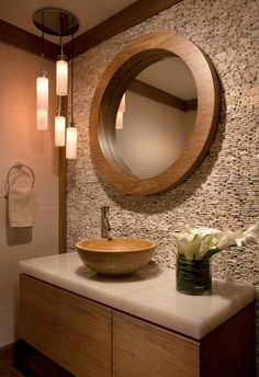Baño de visita Powder Room Lighting, Powder Room Decor, Powder Room Design, Bathroom Designs, Bathroom Design Small, Modern Bathroom, Bathroom Ideas, Stone Walls, Natural Stone Wall