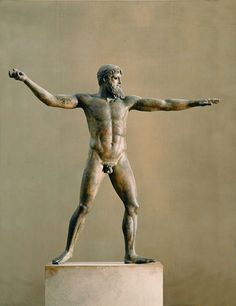 """""""The Artemision Bronze""""  --  Thought to represent either Poseidon or Zeus  --  Greek  --  Circa 460 BCE --  Belonging to The National Archaeological Museum  --  Athens, Greece"""