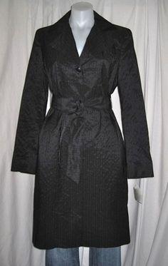 MAXMARA Black Stylish Rain or Trench Coat Jacket - sz 8/10.  On ebay $99