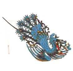 """Chinese King Fisher Hair Ornament, the phoenix form decorated with pearls, spiny coral and hand painted feathers, 8"""" x 4""""."""