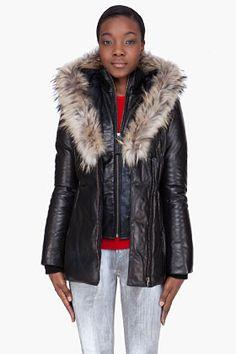 MACKAGE black leather fur-trimmed Ingrid-B coat