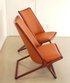 Scissor chairs by Ward Bennet and made by Brickel.