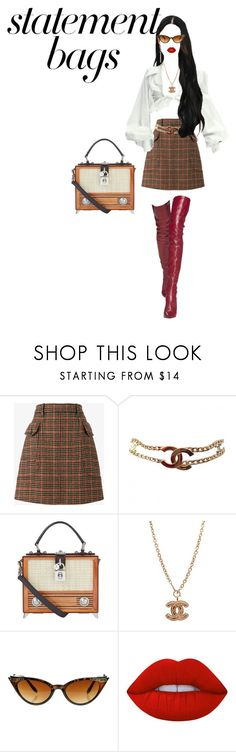 """""""Untitled #9"""" by iovejones ❤ liked on Polyvore featuring Prada, Chanel, Dolce&Gabbana, Lime Crime and statementbags"""