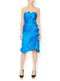 Silk Strapless Ruffle Gown from Oscar de la Renta