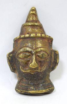 Indian Hindu Religious Figure God Shiva Head Mukhalingam Brass Statue. G53-241 #Unbranded #Vintage