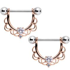 "9/16"" Clear CZ Gem Rose Gold Flourish Dangle Nipple Barbell Set"