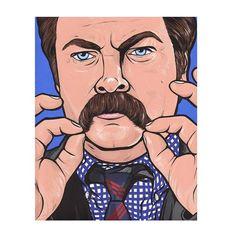 Ron Swanson Mustache by turddemon on Etsy (Art & Collectibles, Prints, pop, portrait, painting, tv, boss, meat, bacon, nick offerman, parks and rec, mustache, ron swanson, Pop art, Art)