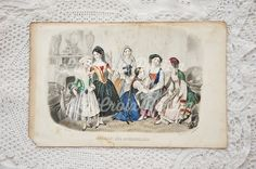 Antique French fashion plate antique engraving by LaCroixRosion