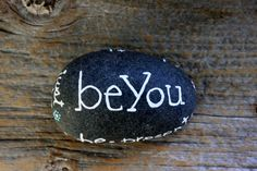BE Affirmation Stone : Hand Lettered Hand Painted by umbrellafant