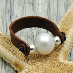Pearl on Leather Ring