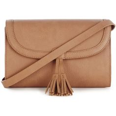Warehouse Double Tassel Cross-Body Bag ($15) ❤ liked on Polyvore featuring bags, handbags, shoulder bags, brown, cross body shoulder bags, beige shoulder bag, purse, crossbody handbags and brown leather crossbody