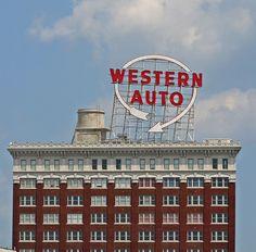 Western Auto neon sign, downtown Kansas City, Mo., USA.