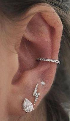 Cute Dainty Crystal Conch Ear Cuff Earring for Women #Conch #Crystal #Cuff #Cute #Dainty #Ear #Earring Pretty Ear Piercings, Ear Peircings, Ear Piercings Conch, Body Piercings, Ear Piercing For Women, Different Ear Piercings, Bellybutton Piercings, Multiple Ear Piercings, Cartilage Hoop