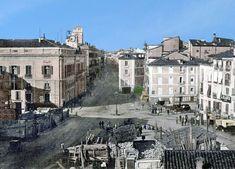 Madrid Antiguo en Color. Puerta del Sol, 1857. La foto se hace desde el lugar que ocupaba la Iglesia del Buen Suceso (demolida en 1854), todavía se observan los escombros. La farola de gas del centro de la Plaza fue instalada en 1848. Señalar que el reloj que aparece en la torre del edificio de Correos provenía de la Iglesia del Buen Suceso, permaneció en Correos hasta 1866 que fue sustituido por el actual donado por el leonés José Rodríguez Conejero (conocido como 'relojero Losada'…